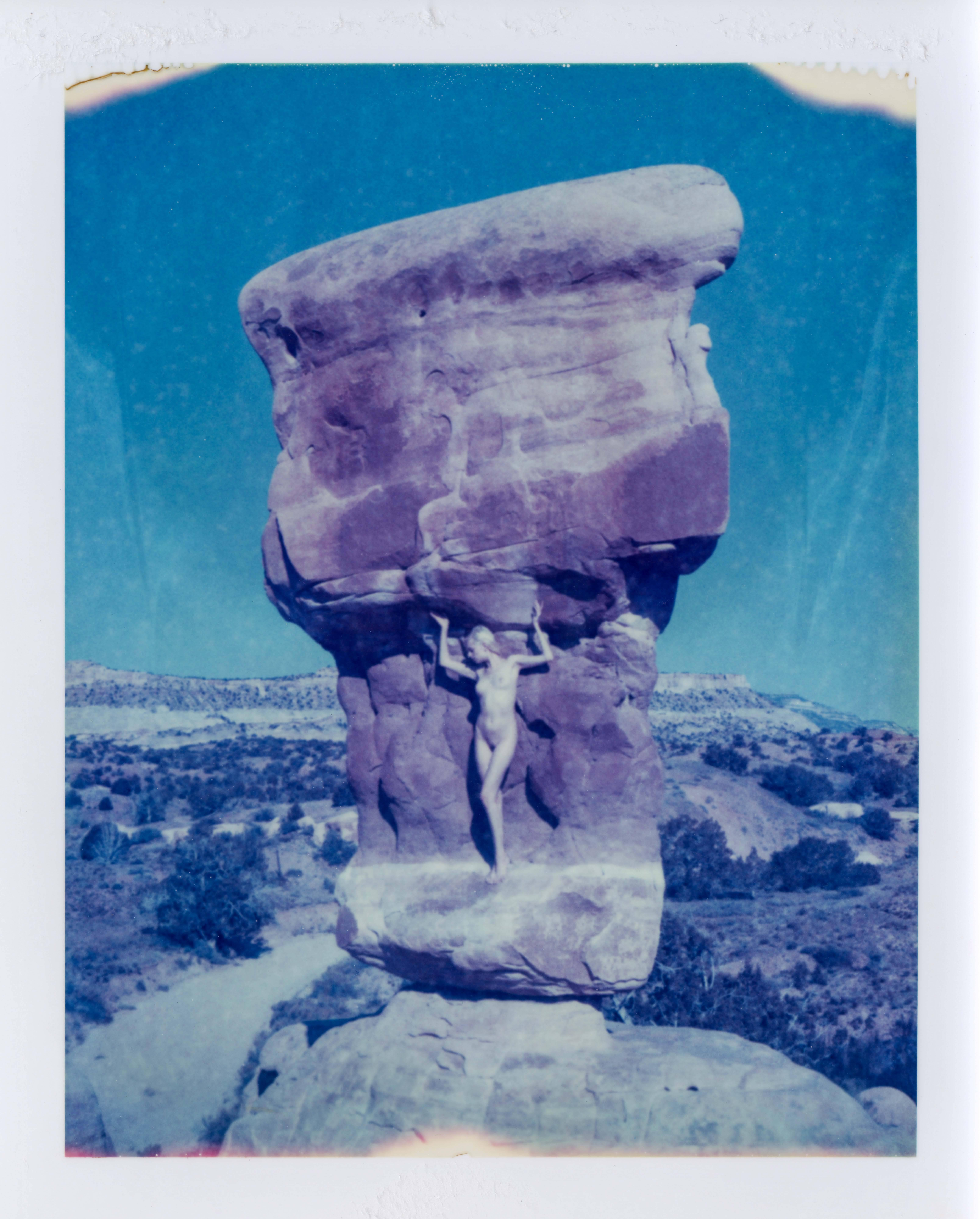 Weight of the World - Contemporary, Nude, Women, Polaroid, 21st Century, Blue