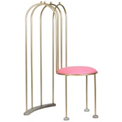 Kiss the Architect 'Dine on Me' 2016 Chair Modern Art Brass Leather Side Pink