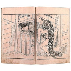 Kitagawa Utamaro II, Japanese Shunga Book with Erotic Woodcut Pictures