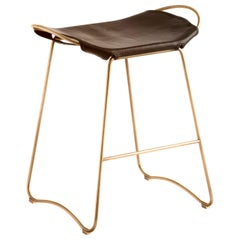 Kitchen Counter Stool Aged Brass Steel & Dark Brown Leather Contemporary Style