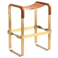 Kitchen Counter Stool, Aged Brass Steel & Natural Tobacco Leather, Contemporary
