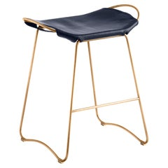 Kitchen Counter Stool Aged Brass Steel & Navy Leather Contemporary Style