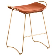 Kitchen Counter Stool Aged Brass Steel & Tobacco Leather, Contemporary Style