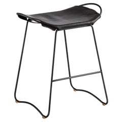 Kitchen Counter Stool Black Smoke Steel & Black Leather, Contemporary Style