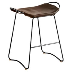 Kitchen Counter Stool Black Smoke Steel & Dark Brown Leather, Contemporary Style