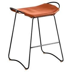 Kitchen Counter Stool Black Steel & Natural Tobacco Leather, Contemporary Style