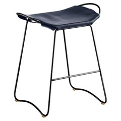 Kitchen Counter Stool Black Steel & Navy Saddler Leather, Contemporary Style