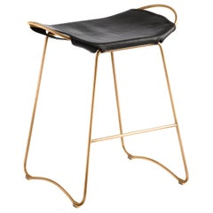 Kitchen Counter Stool Brass Steel & Black Saddle Leather, Contemporary Style