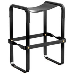 Kitchen Counter Stool, Contemporary Design, Black Smoke Steel and Black Leather