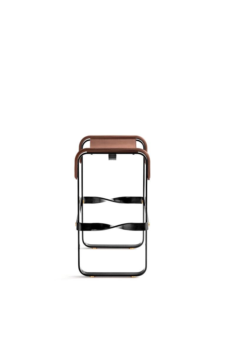 Modern Kitchen Counter Stool, Contemporary Design, Black Steel & Dark Brown Leather For Sale