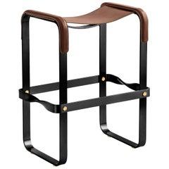 Kitchen Counter Stool, Contemporary Design, Black Steel & Dark Brown Leather