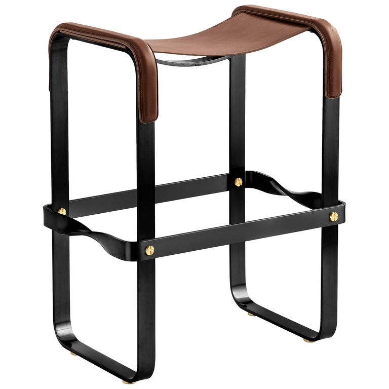 Kitchen Counter Stool, Contemporary Design, Black Steel & Dark Brown Leather For Sale