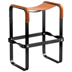 Kitchen Counter Stool, Contemporary Design-Black Steel & Natural Tobacco Leather