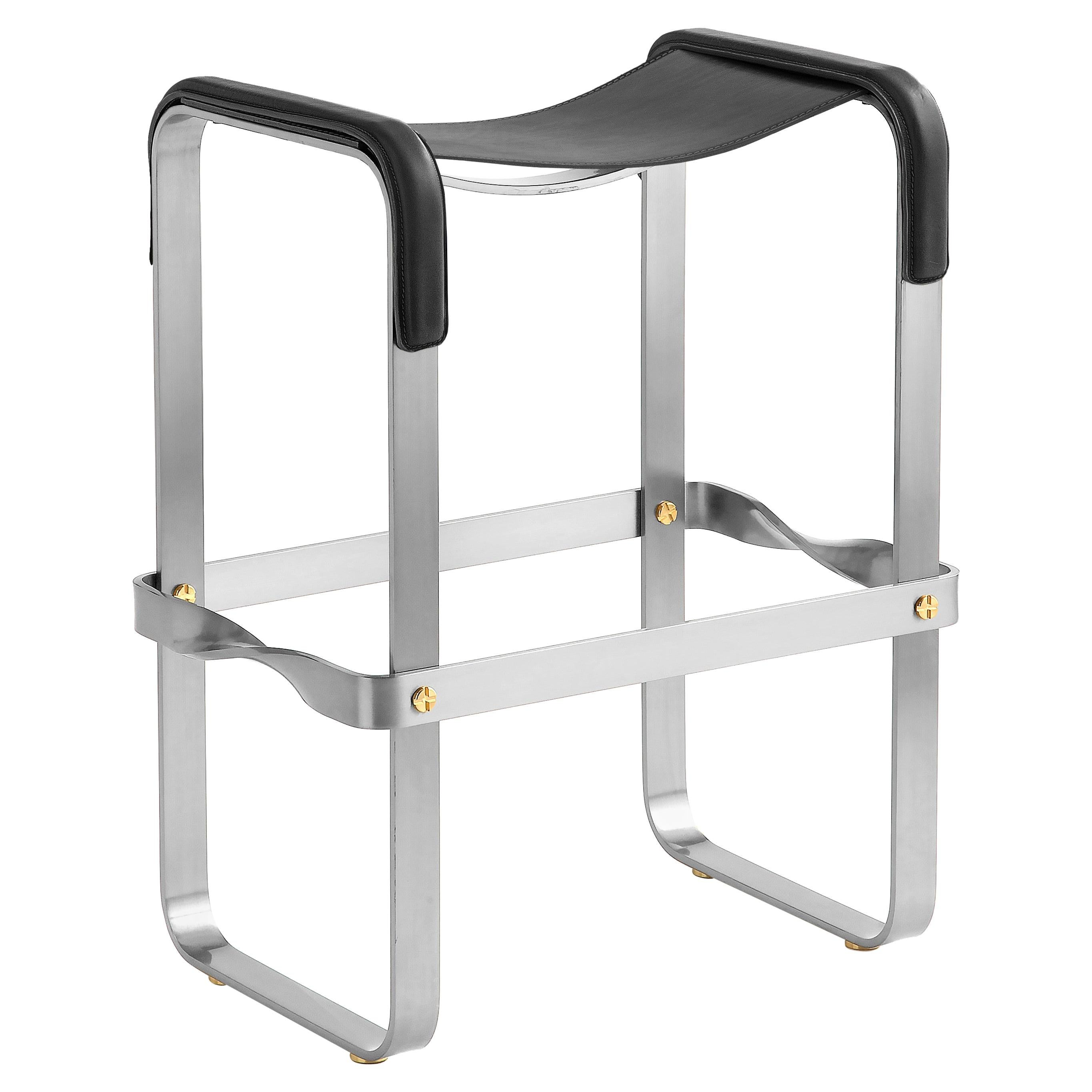 Kitchen Counter Stool, Contemporary Design, Old Silver Steel and Black Leather