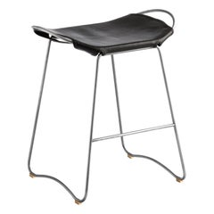 Kitchen Counter Stool Old Silver Steel, Black Saddler Leather Contemporary Style