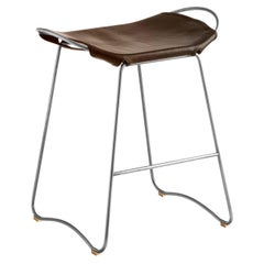 Kitchen Counter Stool Old Silver Steel & Dark Brown Leather, Contemporary Style