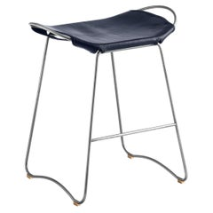 Kitchen Counter Stool, Old Silver Steel & Navy Blue Leather, Contemporary Style