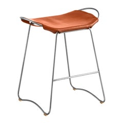Kitchen Counter Stool Silver Steel & Natural Tobacco Leather, Contemporary Style
