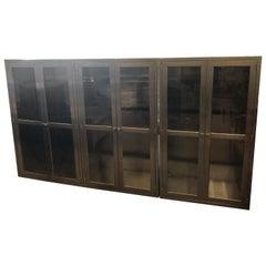 Medizinische Lagerung Schränke, Edelstahl, Glas, Einbauten, 3er-Set