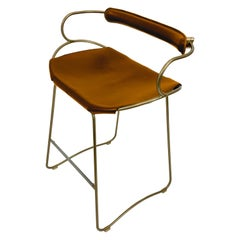 Kitchen Stool with Backrest Brass Steel Natural Tobacco Leather Modern