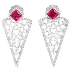 Tourmaline Diamond 18 Karat White Gold Earrings