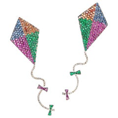"""Kite"" Earrings in White and Yellow Gold with Diamonds, Sapphires and Emeralds"