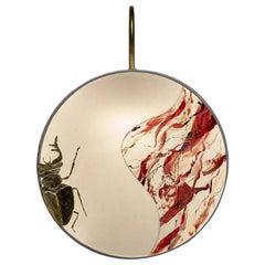 Kite Pattern Sconce Lamps Handmade Velvet and Brass Gold Leaf Marbled-Effect