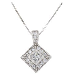 Kite Set Diamond Halo Pendant Necklace
