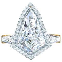 Kite Shape GIA Certified 3.0 Carat Diamond Engagement Ring