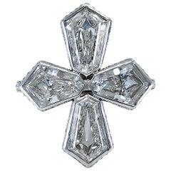 Kite-Shaped Diamond Platinum Cross Ring