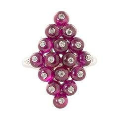 Goshwara  Ruby Beads and Diamond Kite Shaped Ring