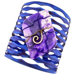 Kite Shaped Sugilite Cuff Bracelet, Titanium and Gold Orsa Maggiore Jewels