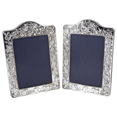 Kitney & Co Pair of English Sterling Silver Photo Frames with Roses 1990s