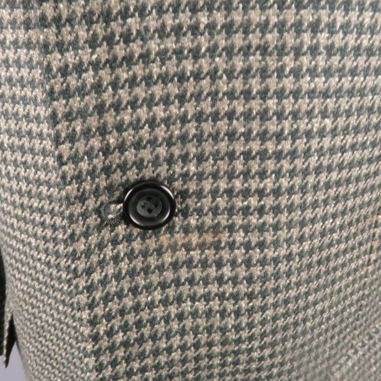Gray KITON 40 Regular Green Houndstooth Cashmere / Silk Notch Lapel Sport Coat For Sale