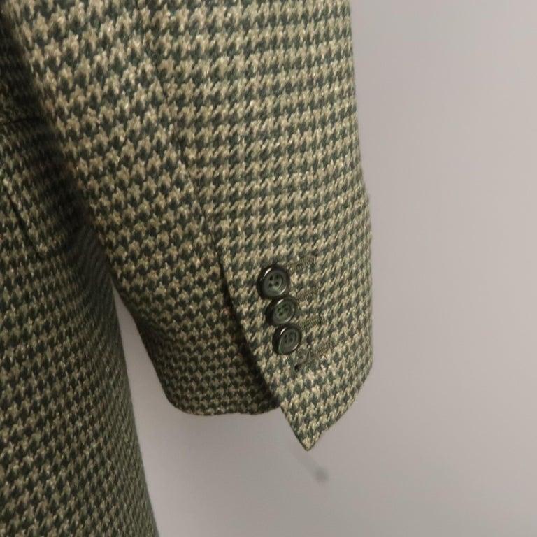 Men's KITON 40 Regular Green Houndstooth Cashmere / Silk Notch Lapel Sport Coat For Sale