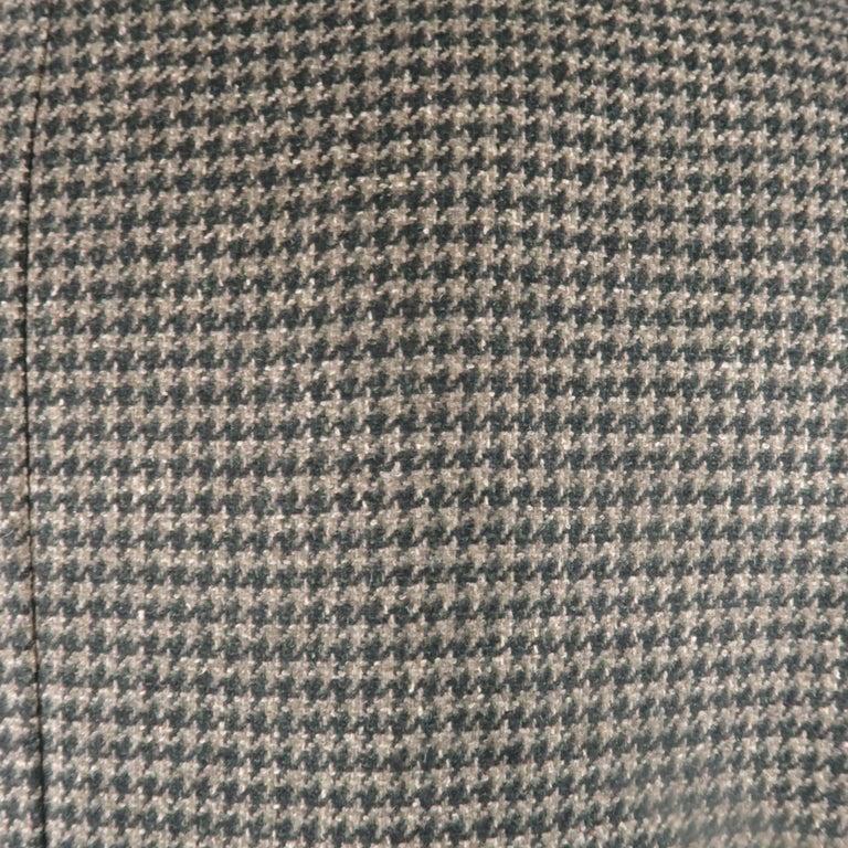 KITON 40 Regular Green Houndstooth Cashmere / Silk Notch Lapel Sport Coat For Sale 1