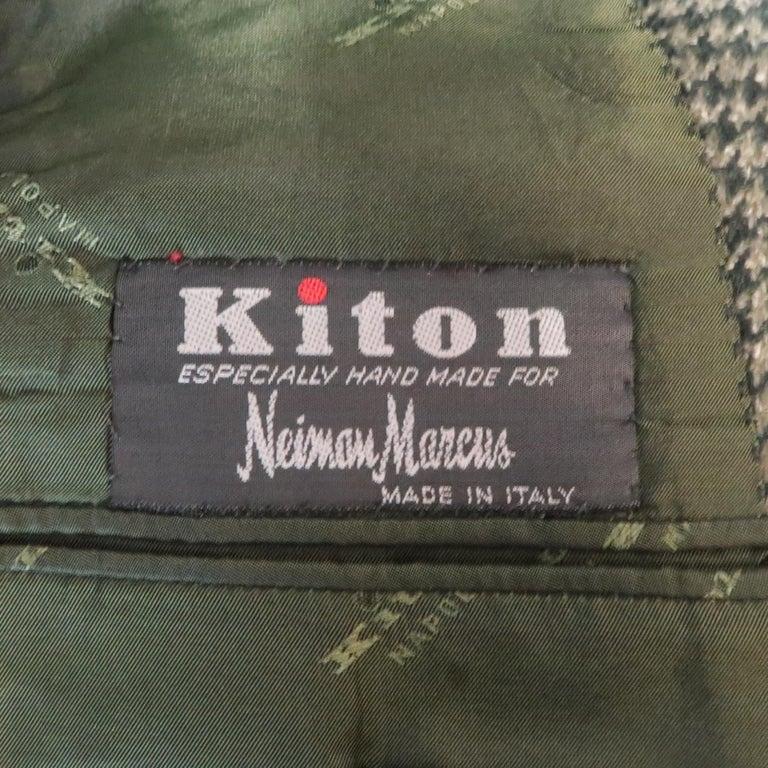 KITON 40 Regular Green Houndstooth Cashmere / Silk Notch Lapel Sport Coat For Sale 2