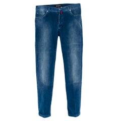 Kiton Blue Cotton Denim Effect Corduroy Trousers - Size XL 34