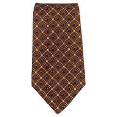 KITON Brown & Navy Pattern Silk Tie