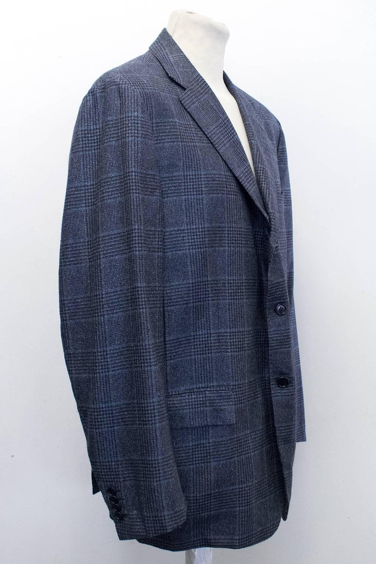 Kiton for Jean Jacques Men's Blue and Black Checked Jacket  In Excellent Condition For Sale In London, GB