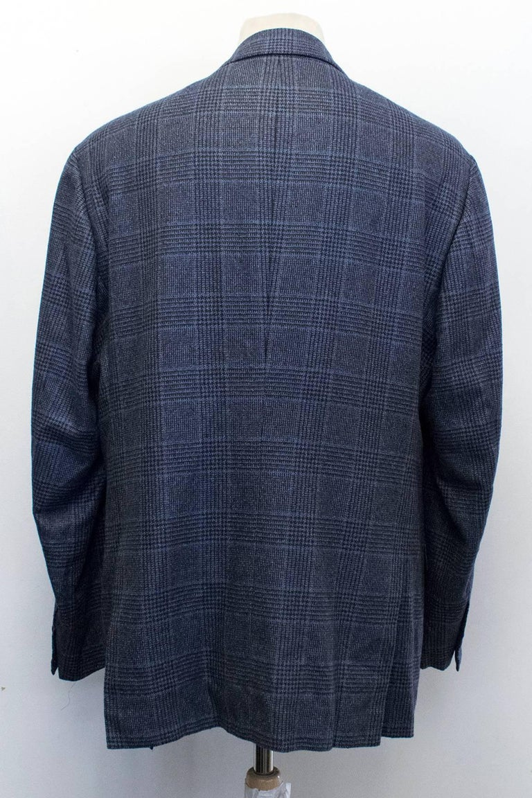 Kiton for Jean Jacques Men's Blue and Black Checked Jacket  For Sale 1