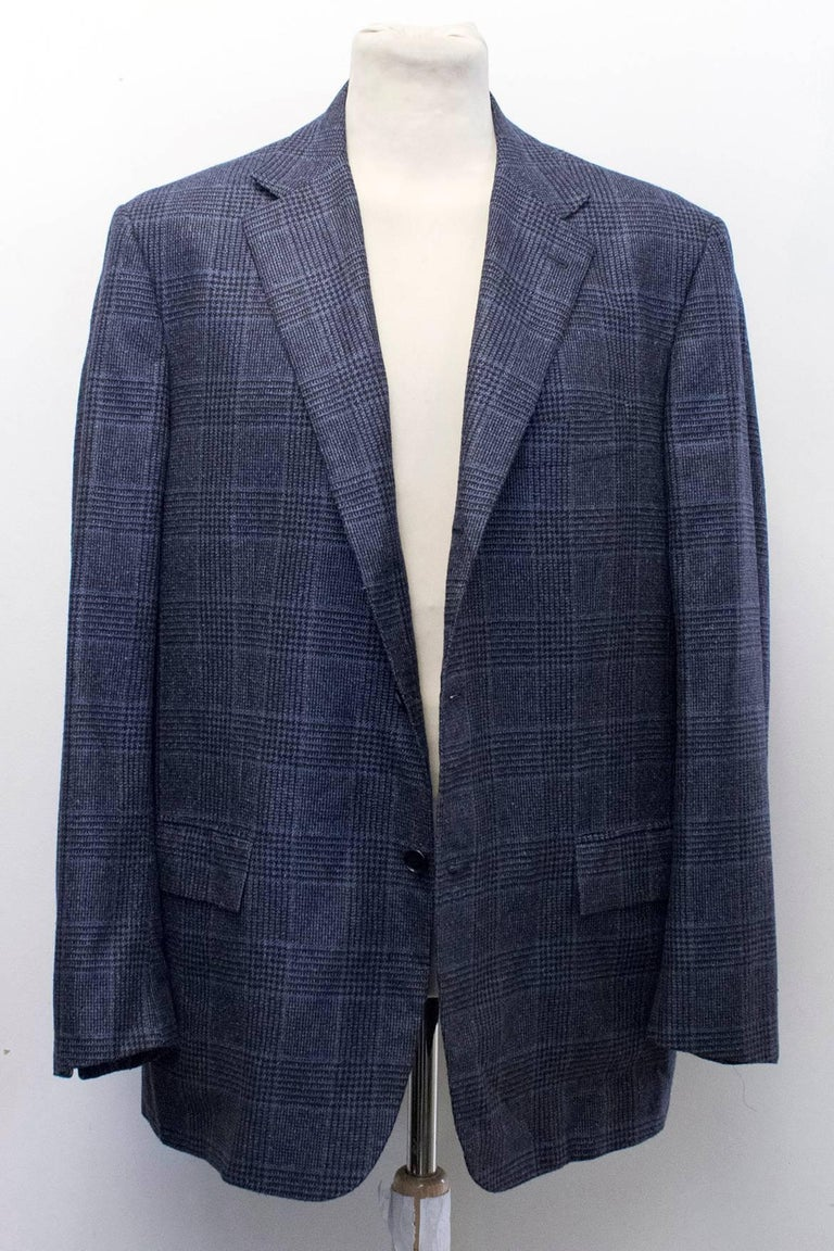 Kiton for Jean Jacques Men's Blue and Black Checked Jacket  For Sale 2