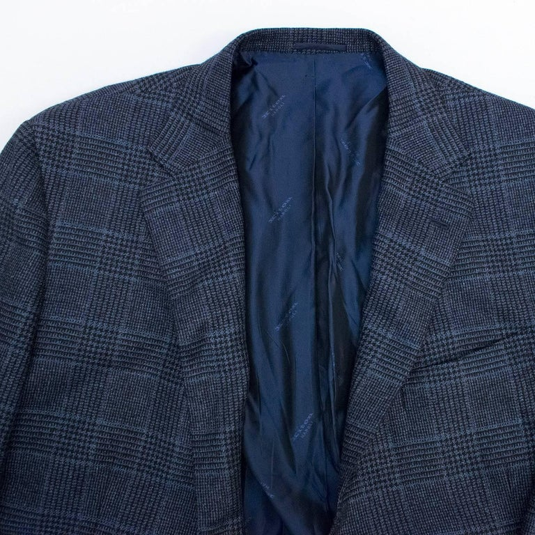 Kiton for Jean Jacques Men's Blue and Black Checked Jacket  For Sale 3