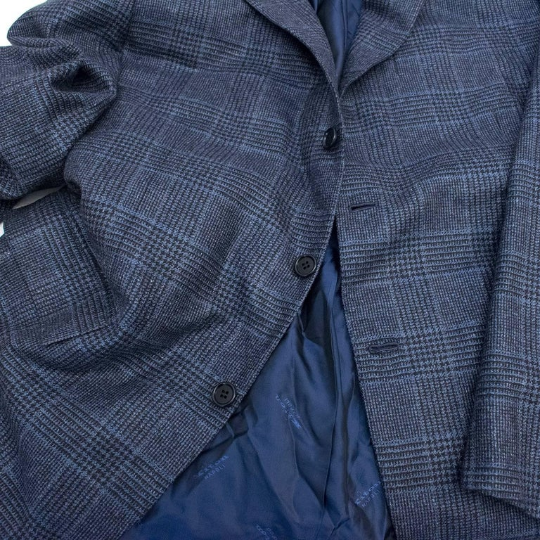 Kiton for Jean Jacques Men's Blue and Black Checked Jacket  For Sale 4