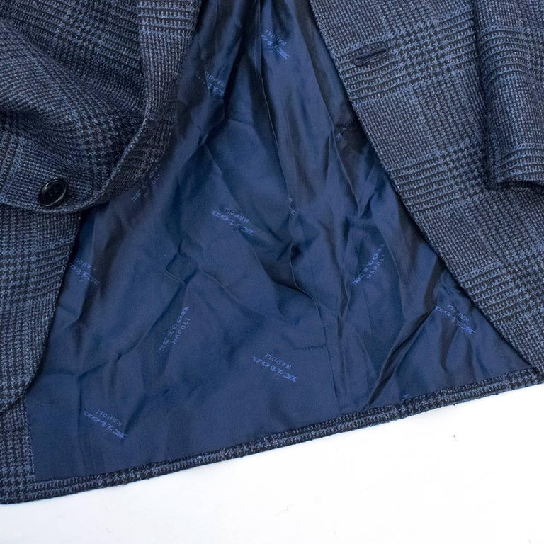 Kiton for Jean Jacques Men's Blue and Black Checked Jacket  For Sale 5