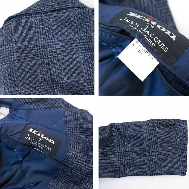 Kiton for Jean Jacques Men's Blue and Black Checked Jacket  For Sale 6