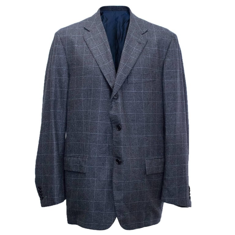 Kiton for Jean Jacques Men's Blue and Black Checked Jacket  For Sale