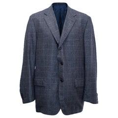 Kiton for Jean Jacques Men's Blue and Black Checked Jacket Size XXL EU 58