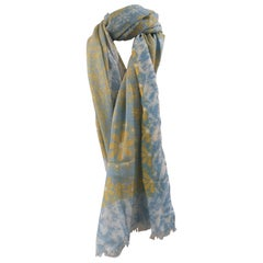 Kiton light blue yellow scarf - foulard