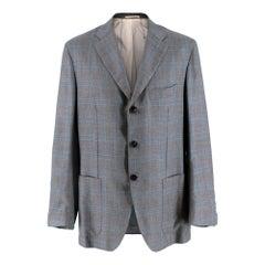 Kiton Napoli Grey & Blue Checked Cashmere & Silk Jacket - Size XXL - 54